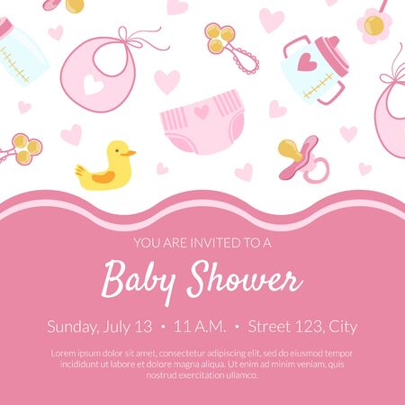 Illustration pour Baby Shower Invitation Banner Template, Pink Card with Newborn Baby Symbols Seamless Pattern and Place for Text Vector Illustration, Web Design. - image libre de droit