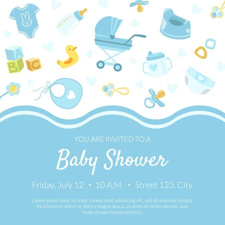 Illustration pour Baby Shower Invitation Banner Template, Light Blue Card with Newborn Baby Symbols Seamless Pattern and Place for Text Vector Illustration, Web Design. - image libre de droit