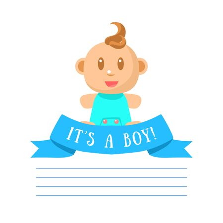 Illustration pour Its Boy Invitation Card Banner Template with Cute Little Baby Boy and Place for Text Vector Illustration, Web Design. - image libre de droit