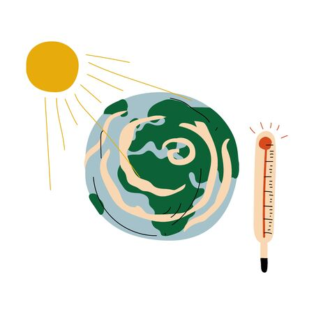 Ilustración de Earth Planet and Thermometer, Global Warming Ecological Problem Vector Illustration on White Background. - Imagen libre de derechos