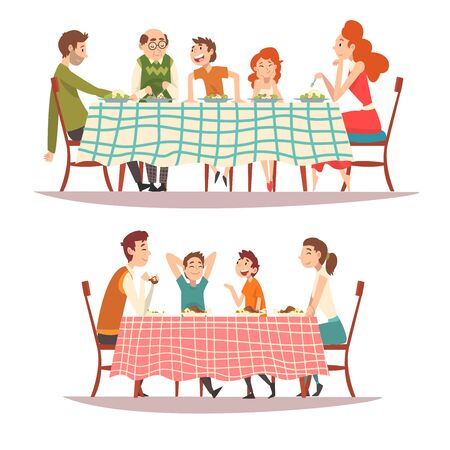 Ilustración de Happy Families Sitting at Kitchen Table with Checkered Tablecloth Set, Eating Food and Talking to Each Other, Happy Parents and Children Eating Together Vector Illustration on White Background. - Imagen libre de derechos