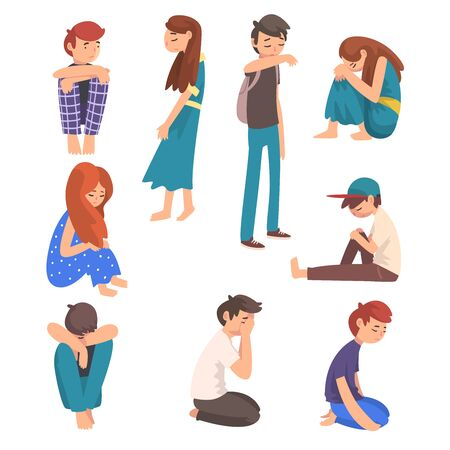 Illustrazione per Unhappy Sad Boys and Girls Set, Depressed, Lonely, Anxious, Abused Teenagers Having Problems, Stressed Students Vector Illustration on White Background. - Immagini Royalty Free