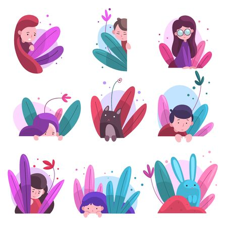 Ilustración de Cute Boys, Girls and Animals Hiding in Bushes Set, Adorable Kids, Bunnies and Cat Peeking Out of Colorful Dense Grass, Bright Imaginary World Vector Illustration - Imagen libre de derechos