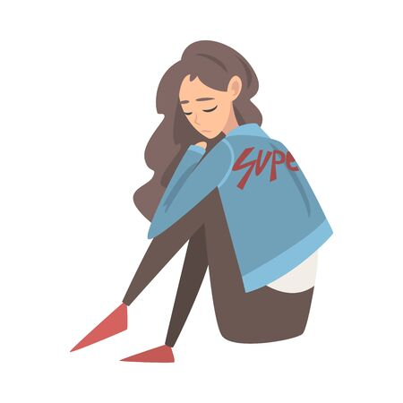 Illustration pour Unhappy Sad Girl Sitting on Floor, Depressed Teenager Having Problems, Front View Vector Illustration - image libre de droit