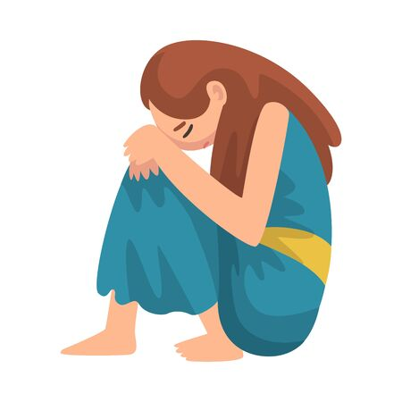 Illustrazione per Depressed Girl Sitting on Floor Hugging Her Knees, Unhappy Stressed Teenager, Lonely, Anxious, Abused Girl Vector Illustration - Immagini Royalty Free