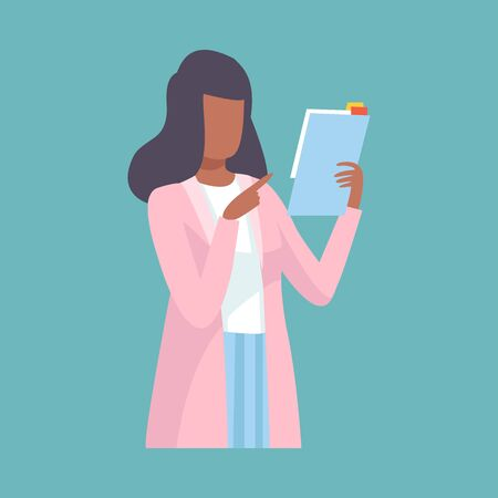 Ilustración de Female Doctor Holding Clipboard and Giving Advice or Recommendation, Professional Medical Worker Character Holding Clipboard Vector Illustration, Flat Style. - Imagen libre de derechos