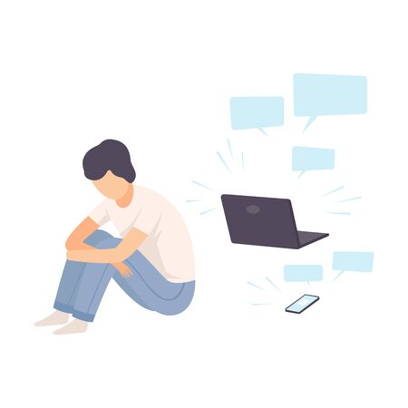 Illustration pour Depressed Teen Boy Sitting on Floor with Laptop Surrounded By Message Bubbles, Cyber Bullying Vector Illustration on White Background. - image libre de droit