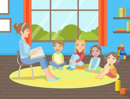 Illustration for Group of Kids Sitting on Floor,Teacher Sitting on Chair and Reading Book to Them Vector Illustration - Royalty Free Image