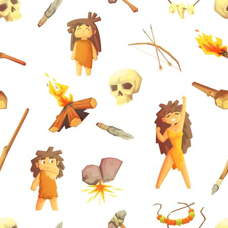 Ilustración de Stone Age Seamless Pattern with Prehistoric People and Hunting Tools, Design Element Can Be Used for Textile, Wallpaper, Packaging, Background Vector Illustration. - Imagen libre de derechos