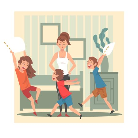 Illustrazione per Mother and Her Mischievous Children, Kids Having Fun at Home, Naughty, Rowdy Children, Bad Child Behavior Vector Illustration, Flat Style. - Immagini Royalty Free