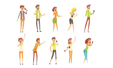 Illustration for Professional Journalists Characters Set, Male and Female Reporters with Microphones Vector Illustration - Royalty Free Image