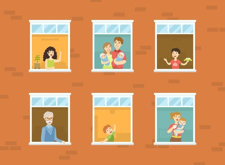 Illustrazione per People Looking Out of Windows Set, Neighbors in Their Apartments Greeting Through the Windows Vector Illustration - Immagini Royalty Free