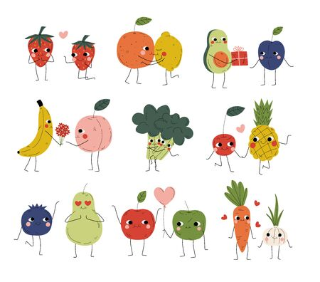 Illustration pour Collection of Cute Cheerful Vegetables, Fruits and Berries Characters Holding Hands, Hugging, Kissing and Giving Gifts, Best Friends, Happy Couples in Love Vector Illustration - image libre de droit