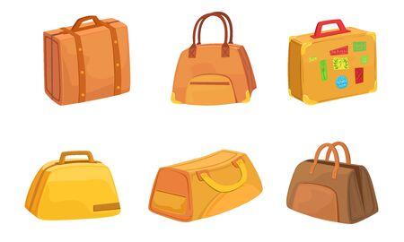 Illustration pour Collection of Suitcases Set, Leather Bags for Travel Vector Illustration on White Background. - image libre de droit
