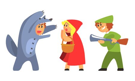 Illustrazione per Little Red Riding Hood, Wolf and Hunhter, Funny Fairy Tale Characters, Actors in Costumes Performing on Stage Vector Illustration - Immagini Royalty Free