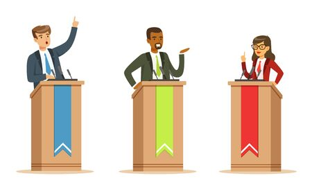 Illustration pour Young Politician Male And Female Speakers Behind Rostrum In Debates Vector Illustration Set Isolated On White Background - image libre de droit