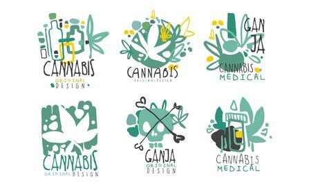 Ilustración de Set of minimalistic green logos on the topic of cannabis with contours and lettering. Vector illustration. - Imagen libre de derechos