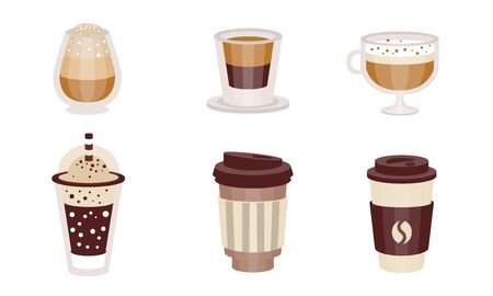 Illustration for Coffee drinks with milk in transparent glasses and takeaway. Vector illustration. - Royalty Free Image