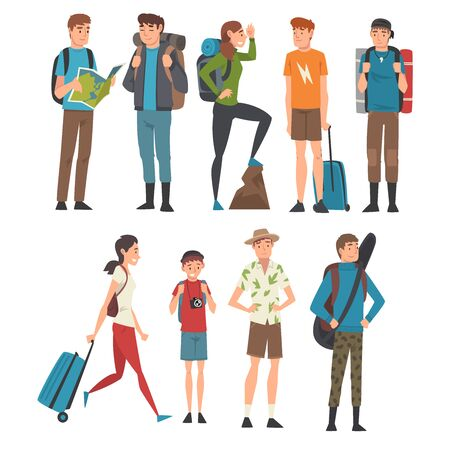 Ilustración de Male and Female Tourists Travelling Set, People Having Summer Travel, Backpacking Trip or Expedition Vector Illustration - Imagen libre de derechos