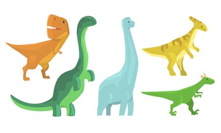 Illustration pour Animated Dinosaurus Of Different Types Vector Illustration Set Cartoon Character - image libre de droit