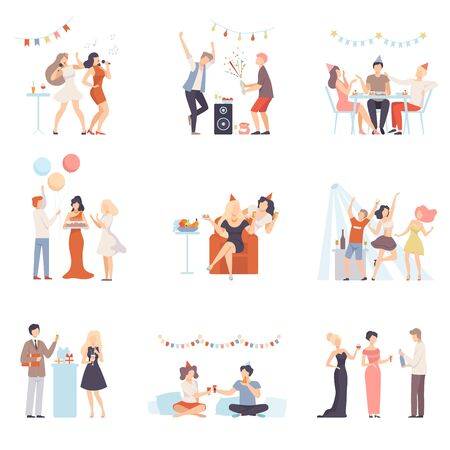 Ilustración de Holidays And Events, People Having Fun At Party, Singing, Congratulating Each Other Vector Illustration Set Isolated On White Background - Imagen libre de derechos
