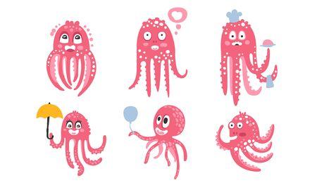 Ilustración de Cartoon pink octopuses. Set of vector illustrations. - Imagen libre de derechos