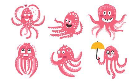Ilustración de Pink octopuses. Set of vector illustrations. - Imagen libre de derechos