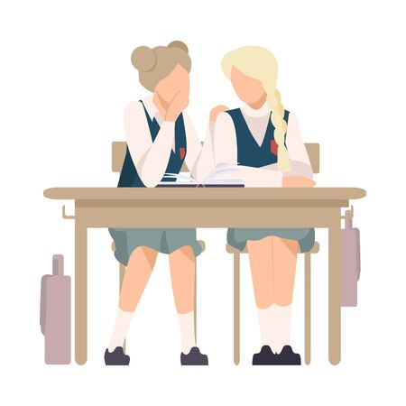 Illustrazione per Two Girls Sitting At School Desk and Gossiping Vector Illustration. Children Demonstrating Bad Behavior At Class Concept - Immagini Royalty Free