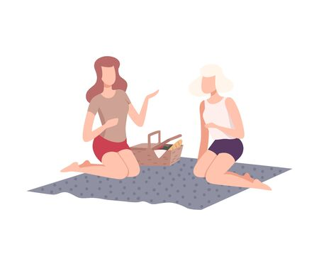 Ilustración de Two Girls Having Picnic in the Park, Friends Relaxing and Talking on Nature Flat Vector Illustration on White Background. - Imagen libre de derechos