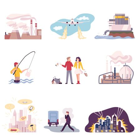 Illustration pour Environmental Pollution and Its Sources Vector Illustrations Set. Water and Air Pollution Because of Garbage Collecting and Smoke from Plants Emission - image libre de droit