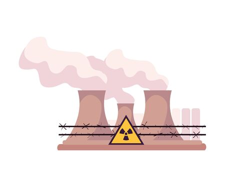 Illustration pour Environmental Pollution and Its Source Vector Illustration. Air Pollution Because of Smoke from Plant Emission. Ecology Problem Concept - image libre de droit