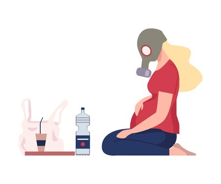 Illustration pour Environmental Pollution and Its Sources Vector Illustration. Urban Pollution Because of Traffic Smoke. Pregnant Woman Wearing Raspirator Sitting on the Ground - image libre de droit