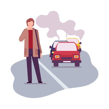 Illustration pour Environmental Pollution and Its Sources Vector Illustration. Urban Pollution Because of Traffic Smoke. Man Crossing the Road Breathing Smoke - image libre de droit