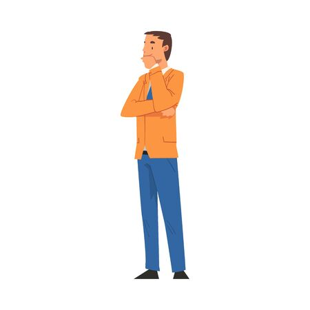 Illustrazione per Thoughtful Businessman Character, Office Worker Employee Cartoon Vector Illustration - Immagini Royalty Free