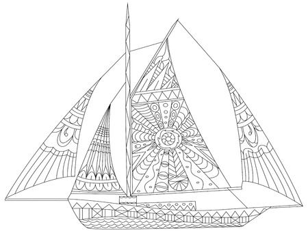 Illustration for Sailing boat coloring book for adults vector illustration. Anti-stress coloring for adult. Zentangle style. Black and white lines. Lace pattern - Royalty Free Image