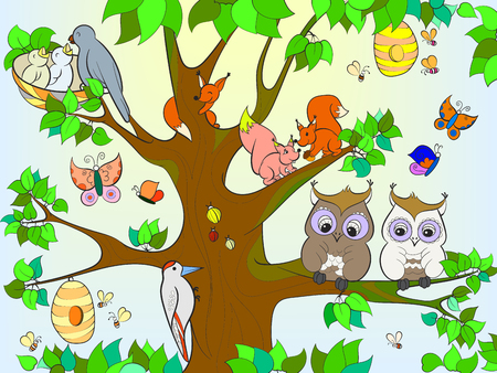 Illustration for Animals and birds living on the tree coloring for children cartoon vector illustration - Royalty Free Image