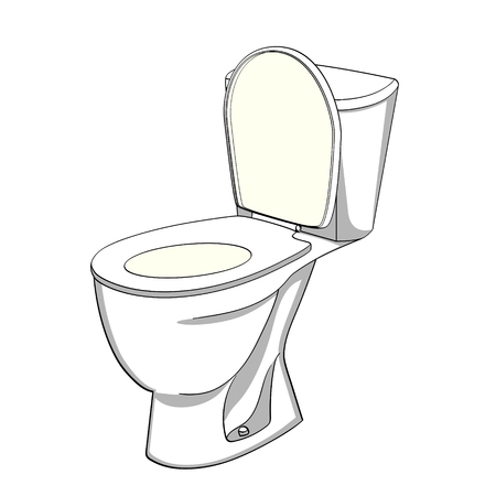Ilustración de Object on white background flush toilet, WC. Color background illustration. - Imagen libre de derechos
