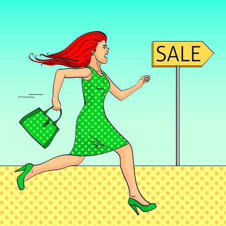 Pop art background. The girl is running for a sale. The tracer is a pointer. Comic style, retro. Vector