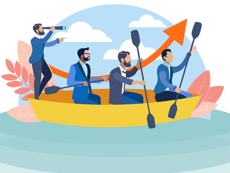 Illustrazione per Office staff sailing in the same boat to the goal. In minimalist style Cartoon flat Vector Illustration - Immagini Royalty Free
