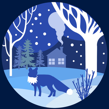 Illustration pour Paper art, cut and craft style of forest wildlife with nature background layers as Saving the world with ecology. Vector illustration. Fox walks in winter, blue. - image libre de droit