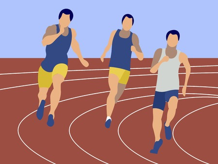 Ilustración de Marathon, sports jogging. Sports competitions, men. In minimalist style Cartoon flat Vector - Imagen libre de derechos