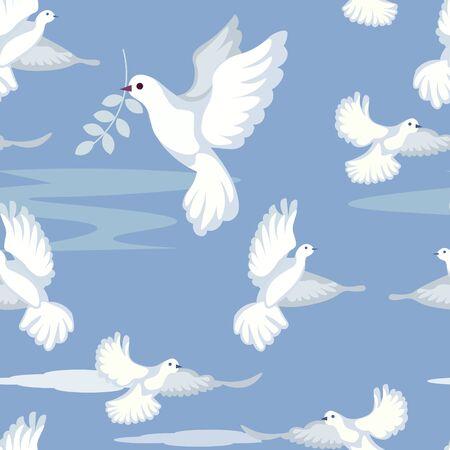 Ilustración de Seamless gentle background. Dove, peace sign, carries a sprig of olive. In minimalist style. Cartoon flat vector - Imagen libre de derechos