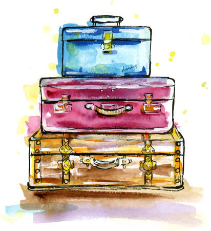 Illustration for Hand drawn watercolor illustration of Vintage suitcases in sketch style - Royalty Free Image