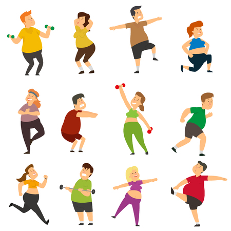 Illustrazione per Funny fat people are doing sports. Thick characters actively lose weight while doing sports exercises. vector illustration. - Immagini Royalty Free