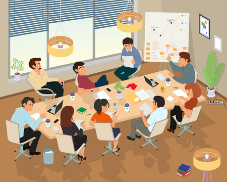 Illustrazione per Concept of the coworking center. Business meeting. People talking and working at the computers in the open space office. Flat design style. - Immagini Royalty Free