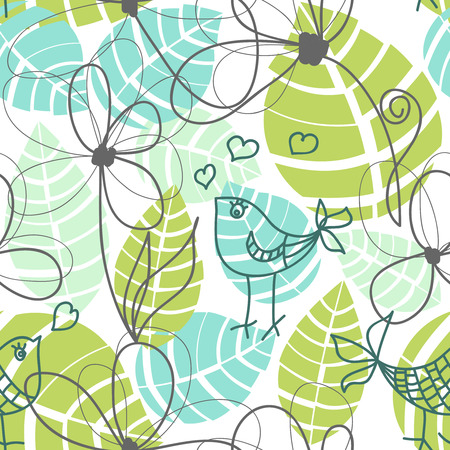 Flowers, leaves and love birds seamless pattern