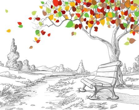 Illustration pour Autumn tree, falling leaves  - image libre de droit