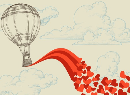 Photo for Hot air balloon flying hearts romantic concept - Royalty Free Image