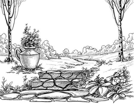 Illustration pour Stone stairs in the park pencil drawing - image libre de droit