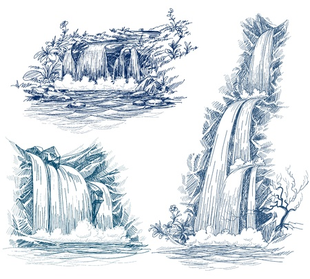 Illustration pour Water falls drawing - image libre de droit